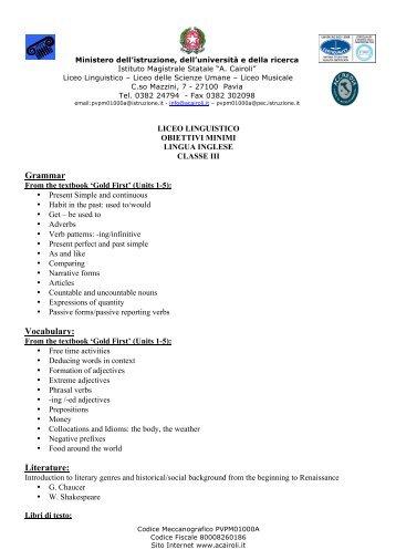 obiettivi - Istituto Statale A. Cairoli