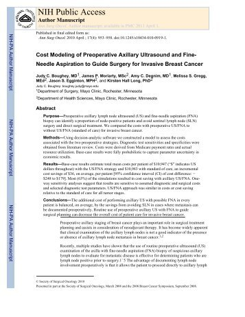 Cost Modeling of Preoperative Axillary Ultrasound and Fine Needle ...