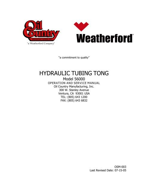 Osm 003 Model 56000 Hydraulic Tubing Tong