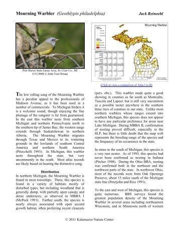 Mourning Warbler - Michigan Breeding Bird Atlas Website