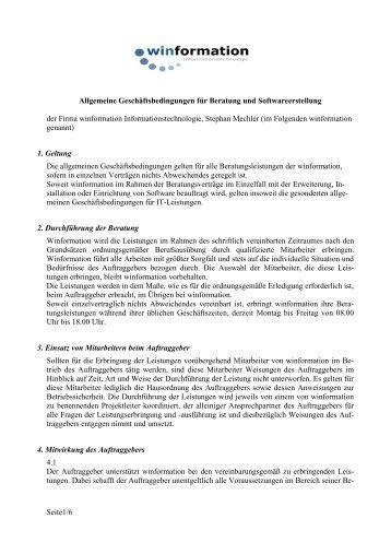 Allgemeine Geschäftsbedingungen Beratung / Software