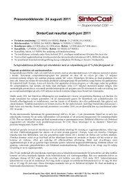 Pressmeddelande: 24 augusti 2011 SinterCast resultat april-juni 2011
