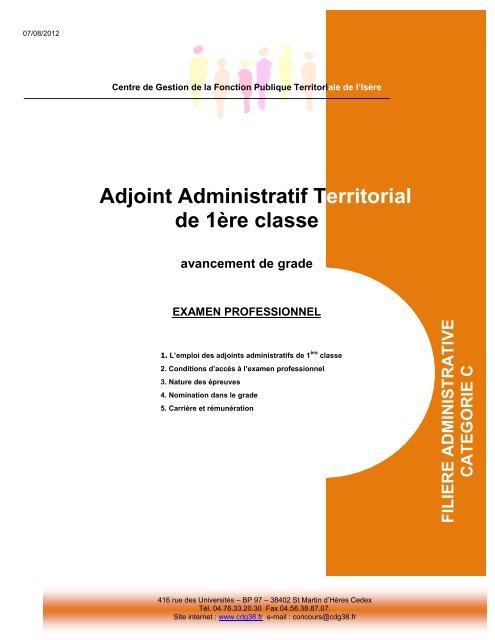 Adjoint Administratif Territorial De 1a Re Classe Cdg38