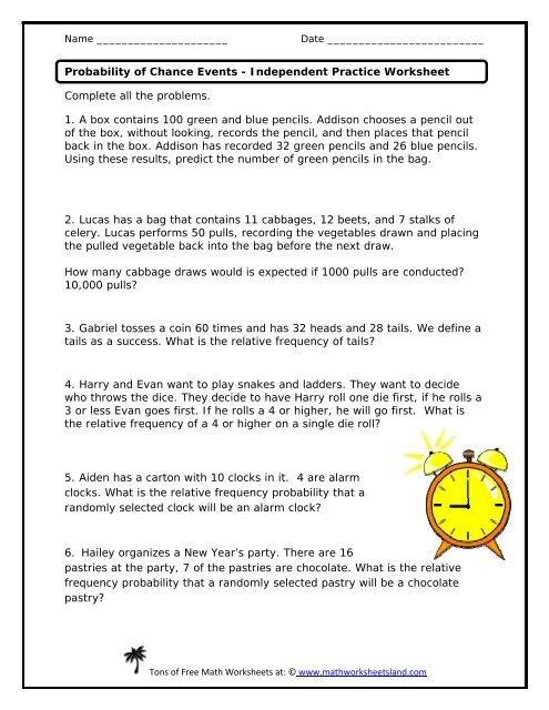 Practice Worksheet Math Worksheets Land