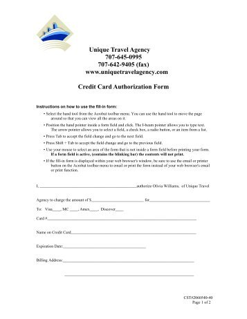 Credit Card Authorization Form  Imn