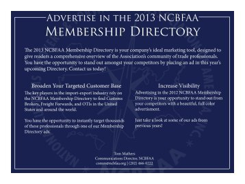 to view examples and pricing in the 2013 ncbfaa information packet