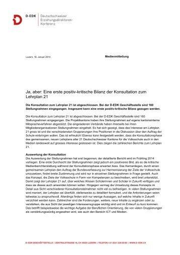Die Medienmitteilung als PDF herunterladen - Lehrplan 21