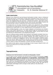 Nr. 32, Dezember 2006 - AK Geographie und Geschlecht