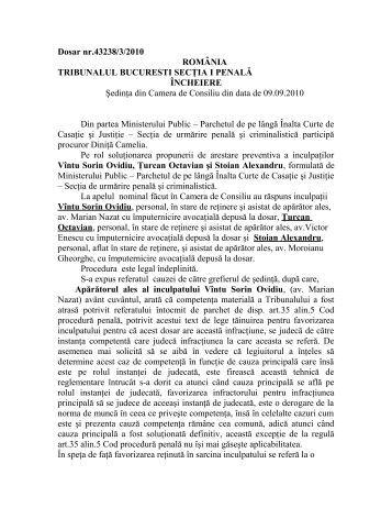 Dosar nr.43238/3/2010 ROMÂNIA TRIBUNALUL BUCURESTI ...