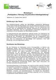 """Workshop 4 """"Partizipation, Führung und präventive ... - IMA,ZLW & IfU"""
