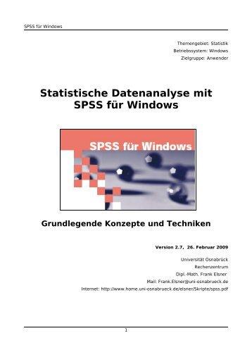 Statistische Datenanalyse mit SPSS für Windows - Eigene WWW ...