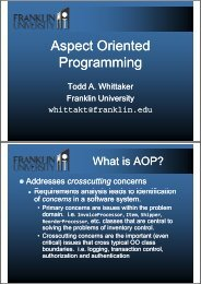 Aspect Oriented Programming Talk - Franklin University