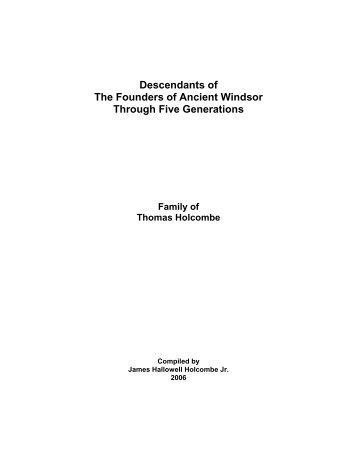 The Descendants of Thomas Holcombe - Holcombe Genealogy