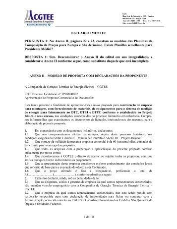 anexo ii – modelo de proposta com declarações da ... - CGTEE