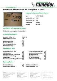 Einbauhilfe Elektrosatz für VW Transporter T4 1996->