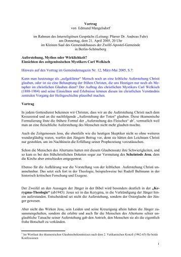 3. Vortrag: Auferstehung, Mythos oder Wirklichkeit - Evangelische ...