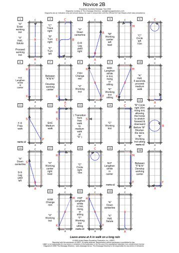 Novice 2B dressage test diagram and caller sheet - SCPA