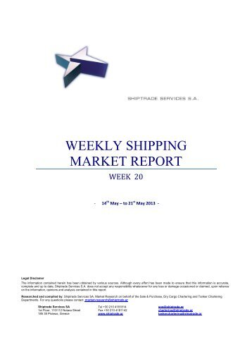 shipping industry report Full report can be viewed on the market reports tab at the following link: wwwcompassmarcom weekly market report author: james g lighbourn created date.