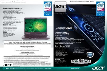 Acer® TravelMate® 5730 Acer® Aspire® 6920 - iLaptops