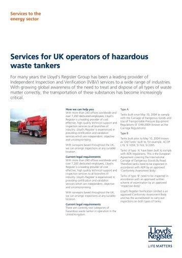 Services for UK operators of hazardous waste ... - Lloyd's Register