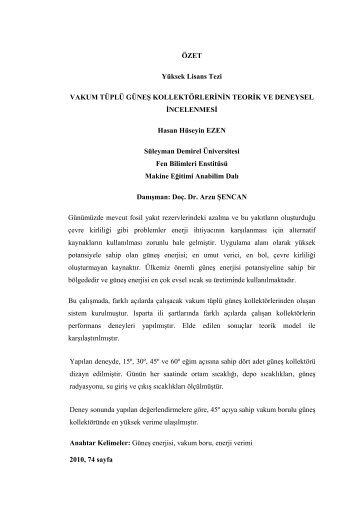 ÖZET Yüksek Lisans Tezi VAKUM TÜPLÜ GÜNEù ...