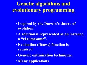 Genetic algorithms and evolutionary programming - Electrical ...