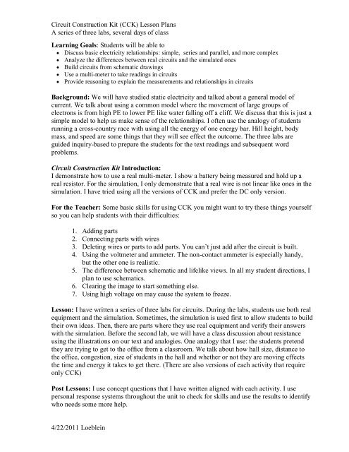 Three Circuit construction lab activities pdf - PhET
