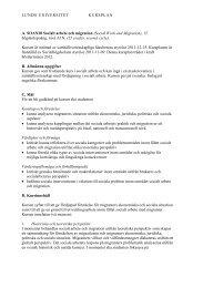 LUNDS UNIVERSITET KURSPLAN A. SOAN28 Socialt arbete och ...
