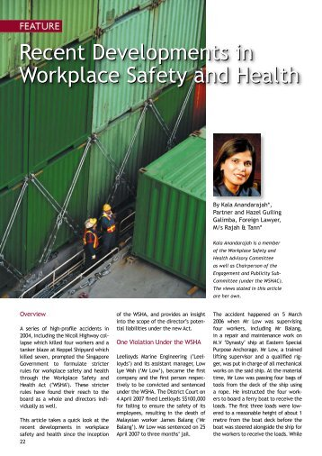 Recent Developments in Workplace Safety and Health - Singapore ...