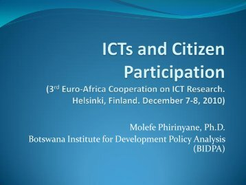 Technology and the Nature of Active Citizenship - EuroAfrica-ICT