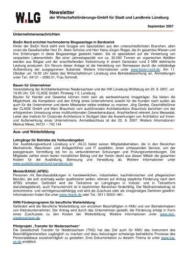Newsletter - 2007-09-19 - Wirtschaftsforum Lüneburg eV