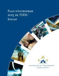 Plan d'entreprise 2013 de TDDC - Technologies du développement ...