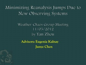 Reduction of Jumps in Reanalsysis - Weather-Chaos Group