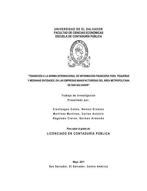 Transicion A La Niif Para Las Pymes Universidad De El Salvador