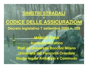 CODICE DELLE ASSICURAZIONI - Tribunale di Varese