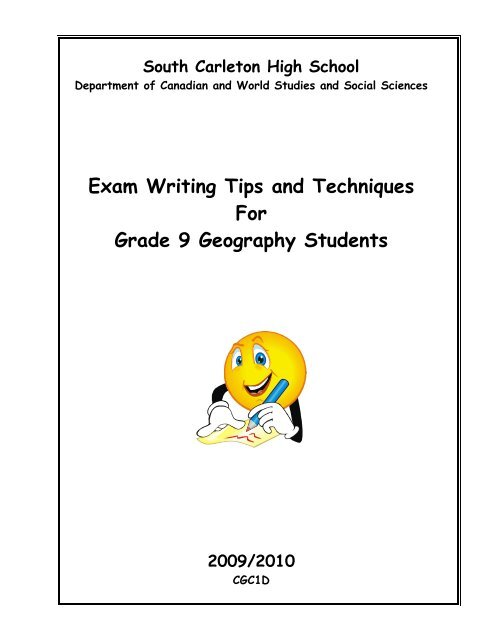Grade 9 Geography Exam Writing Tips and - South Carleton