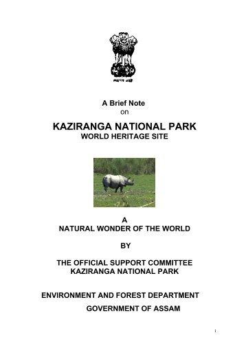 A brief Report on Kaziranga National Park - Assam