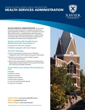 HEALTH SERVICES ADMINISTRATION - Xavier University