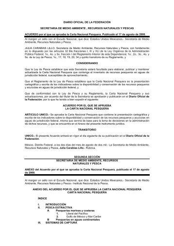 Carta Nacional Pesquera 2000 - Inapesca
