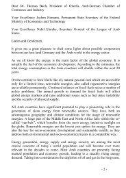 Dear Dr. Thomas Bach, President of Ghorfa, Arab-German Chamber ...