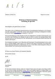 Einladung zur Generalversammlung Donnerstag, 26. April 2012 - ALIS