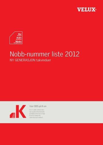 Nobb-nummer liste 2012 - Velux AS