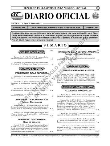 Vera - Diario Oficial de la República de El Salvador
