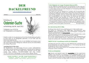 Der Dackelfreund - Nr. 2/2012 - Teckelklub Wiesbaden/ Mainz