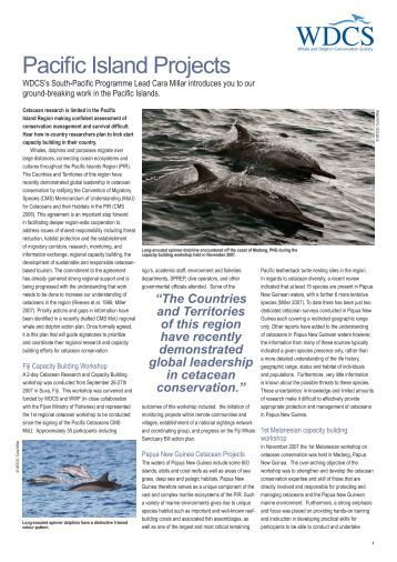 Pacific Island Projects - Whale and Dolphin Conservation Society