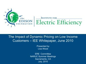 The Impact of Dynamic Pricing on Low Income Customers - Edison ...