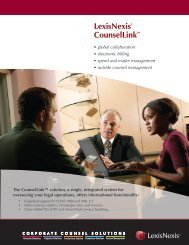 LexisNexis® CounselLink™ - Corporate Counsel