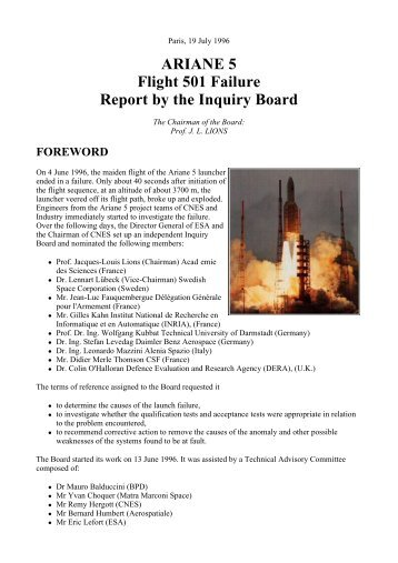 ARIANE 5 Flight 501 Failure Report by the Inquiry Board - Zoo