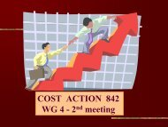COST ACTION 842 WG 4 -2 meeting