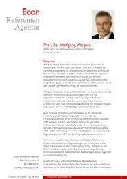 Prof. Dr. Wolfgang Wiegard - Econ Referenten-Agentur